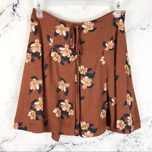 Free People rust burnt orange floral mini skirt